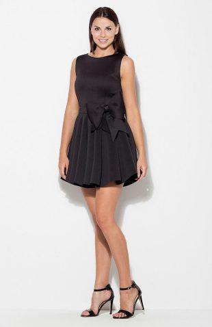 Sukienka rozkloszowana z kokardą czarna