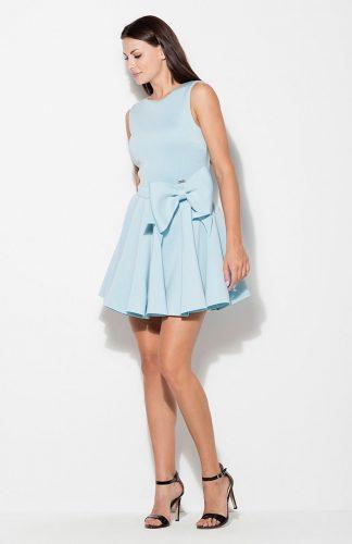 Sukienka rozkloszowana z kokardą niebieska
