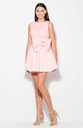 Sukienka rozkloszowana z kokardą różowa
