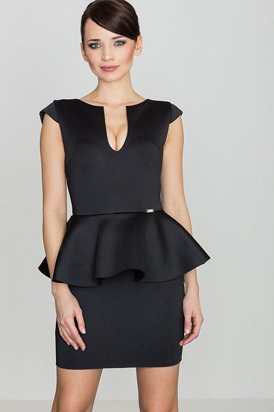 Sukienka z baskinką przed kolano czarna przód