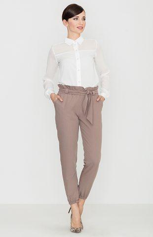 Spodnie marszczone w pasie mocca