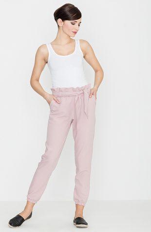 Spodnie marszczone w pasie róż