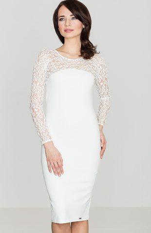 Sukienka z koronkową górą ecru