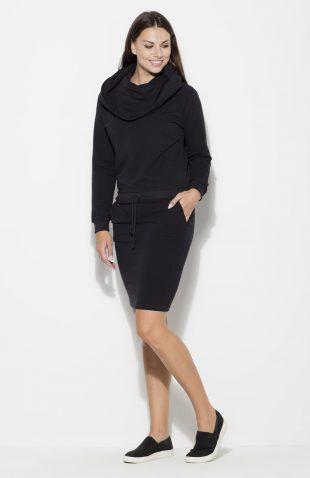 Sukienka bawełniana z kapturem czarna