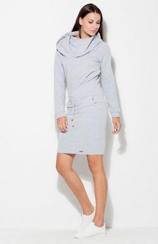 Sukienka bawełniana z kapturem szara