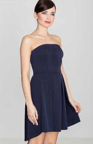Sukienka gorsetowa z odsłoniętymi ramionami granatowa