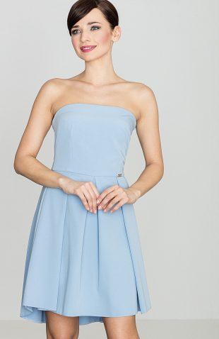 Sukienka gorsetowa z odsłoniętymi ramionami niebieska