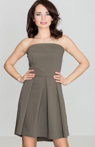 Sukienka gorsetowa odcinana w talii oliwkowa