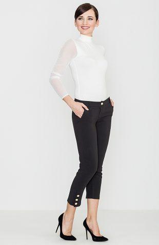 Eleganckie spodnie rybaczki z guzikami czarne