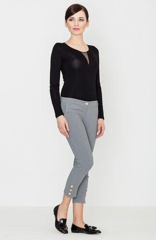 Eleganckie spodnie rybaczki z guzikami szare