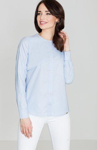Koszula bawełniana z przeszyciem niebieska