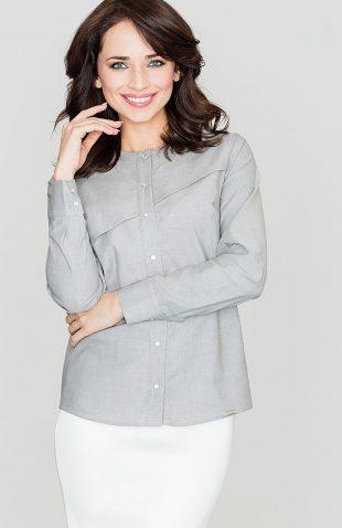 Koszula bawełniana z przeszyciem szara