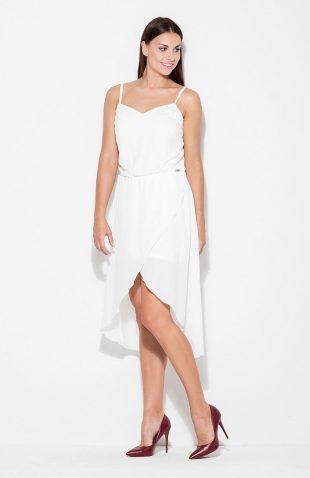 Sukienka asymetryczna na ramiączkach ecru