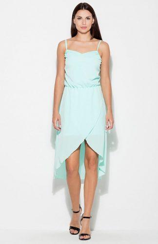 Sukienka asymetryczna na ramiączkach miętowa