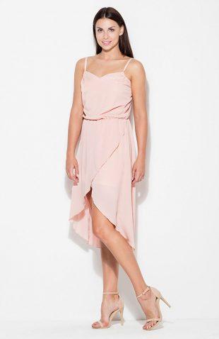 Sukienka asymetryczna na ramiączkach różowa