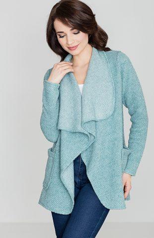 Ciepły sweter narzutka z kieszeniami niebieski