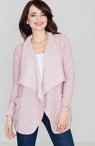 Sweter narzutka z kieszeniami różowy
