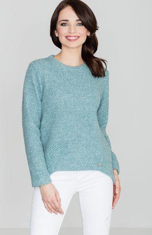 Sweter wełniany asymetryczny niebieski