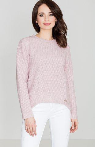 Sweter wełniany asymetryczny róż