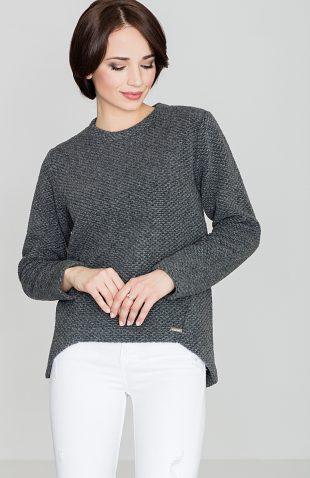 Sweter wełniany asymetryczny szary