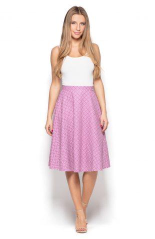 Spódnica za kolano różowa w geometryczny wzór