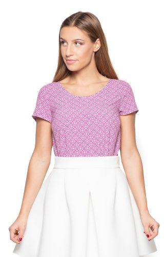 Bluzka z tkaniny w geometryczny wzór różowa