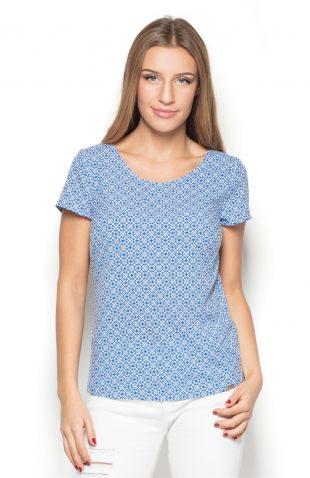 Bluzka z tkaniny w geometryczny wzór niebieska