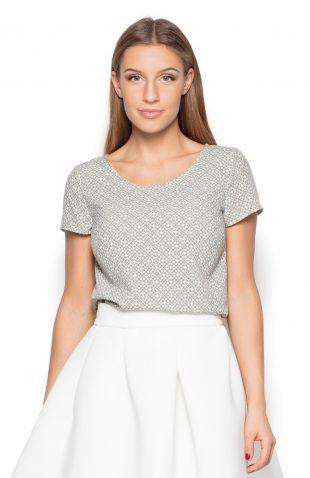 Bluzka z tkaniny w geometryczny wzór szara