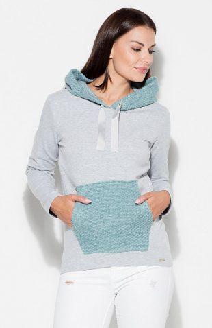 Bluza kangurka z kapturem damska niebieska