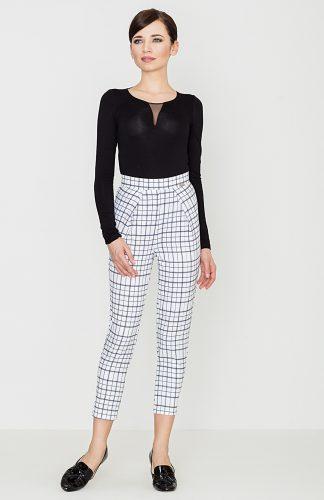 Spodnie w retro kratę białe
