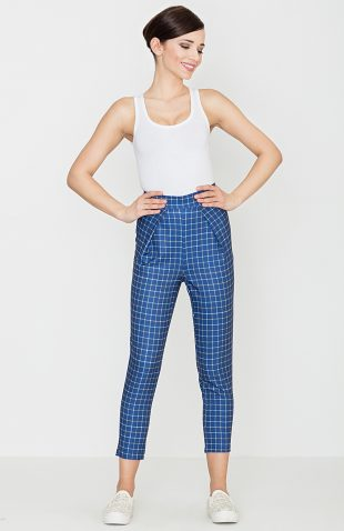 Spodnie w retro kratę niebieskie