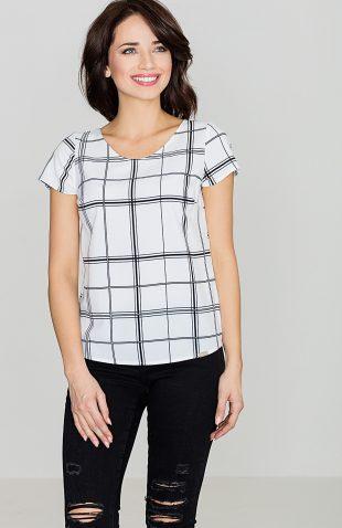 Bluzka w kratę z krótkim rękawem biało-czarna