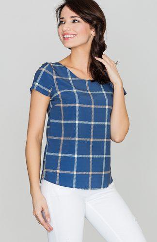 Bluzka w kratę z krótkim rękawem niebiesko-biała