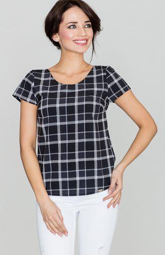 Bluzka w kratę z krótkim rękawem czarno-biała