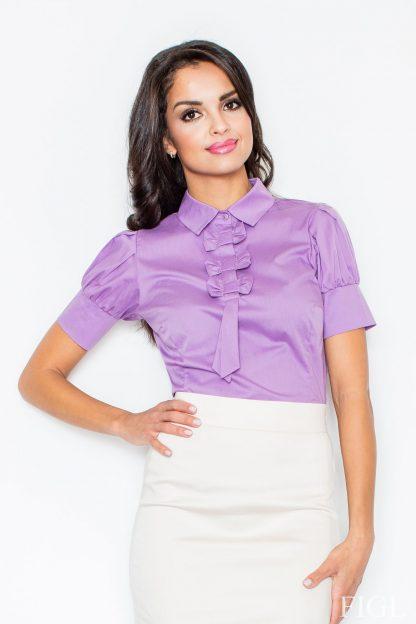 Bawełniana koszula z żabotem fioletowa