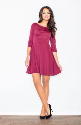 Sukienka rozkloszowana taliowana bordo