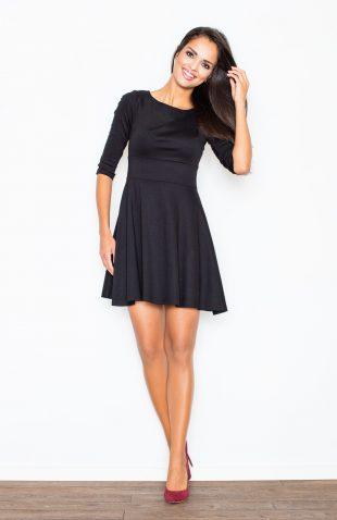 Sukienka rozkloszowana taliowana czarna