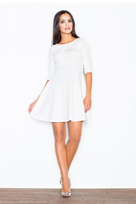 Sukienka rozkloszowana ecru