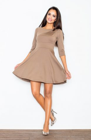 Sukienka taliowana rozkloszowana mocca