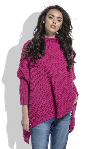 Ciepły sweter z półgolfem asymetryczny