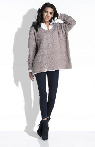 Szeroki sweter z dekoltem typu V