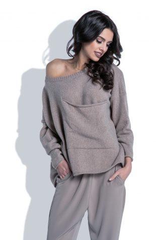 Ciepły sweter wełniany z dużą kieszenią