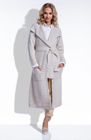 Długi sweter wiązany w pasie