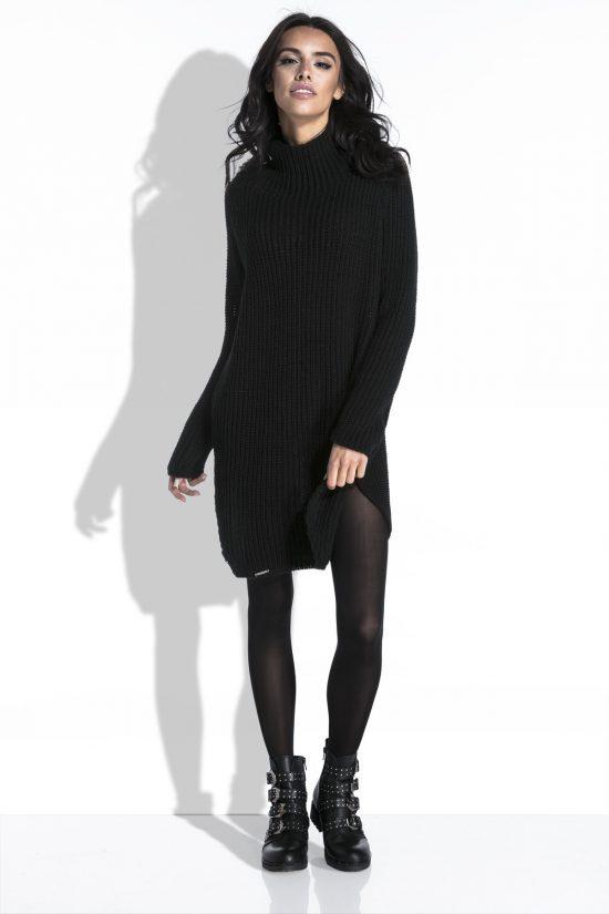 Sweter tunika z półgolfem