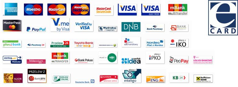 Formy płatności - logo różnych marek związanych z płatnościami, banków i kart