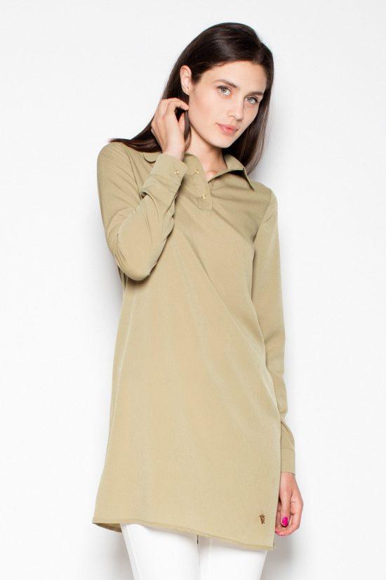 Długa koszula damska oliwkowa