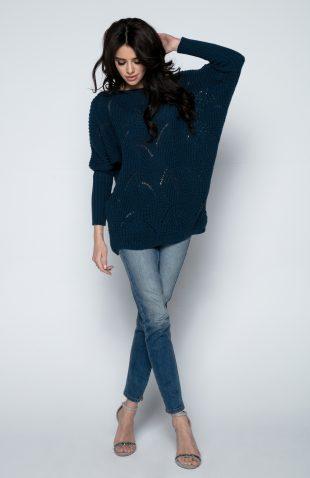 Lekki ażurowy sweterek z dodatkiem naturalnej wełny