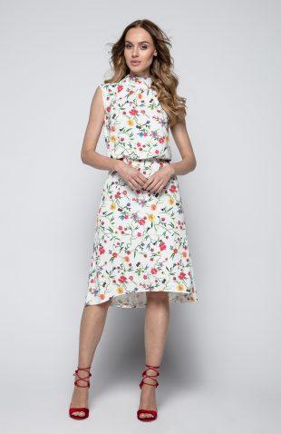 Sukienka ecru w kwiatki