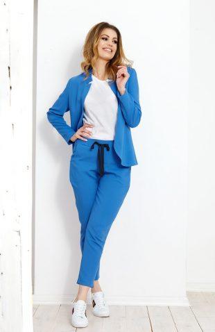 Komplet żakiet ze spodniami niebieski