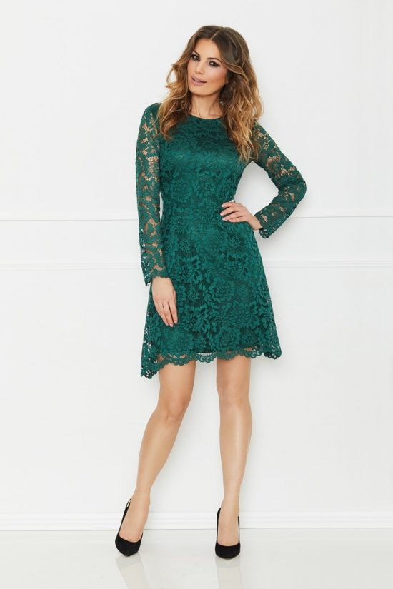 Sukienka koronkowa z długim rękawem szafirowa